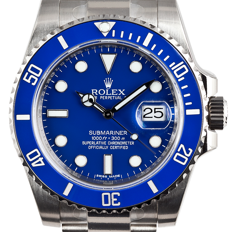 Rolex Submariner 18ct White Gold Watch with Blue Dial 116619LB