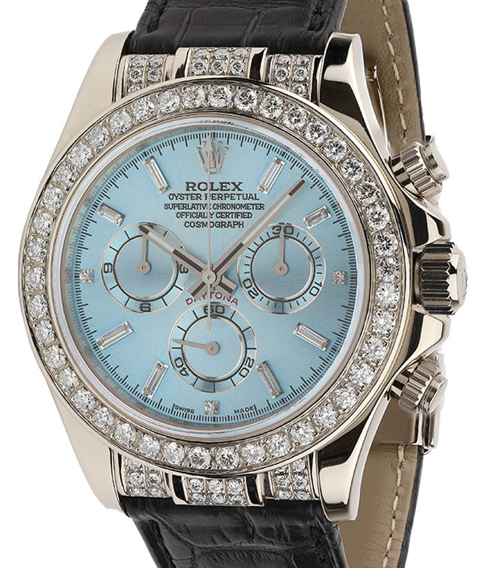 Rolex Cosmograph Daytona White Gold Sky Blue Dial Diamond 116519