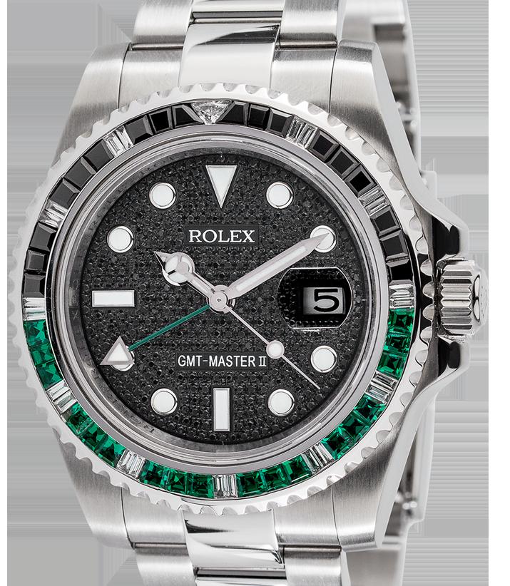 Rolex GMT-Master II Steel Black/Green Precious Stones Bezel Black Pavé Dial Custom 116710LN