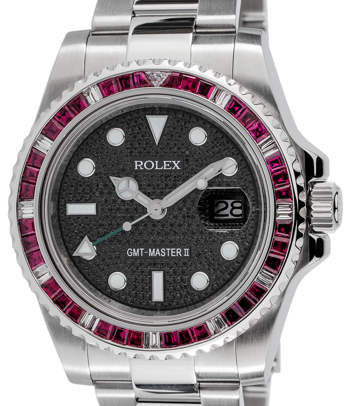Rolex GMT-Master II Steel Red Ruby Precious Stones Bezel Black Pavé Dial Custom 116710LN