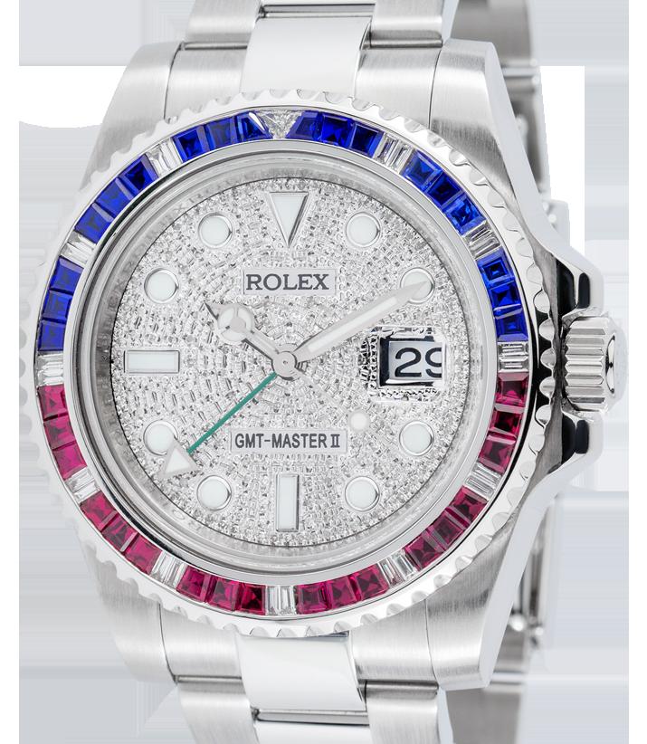Rolex GMT-Master II Steel Pepsi Bezel Pavé Dial 116710LN