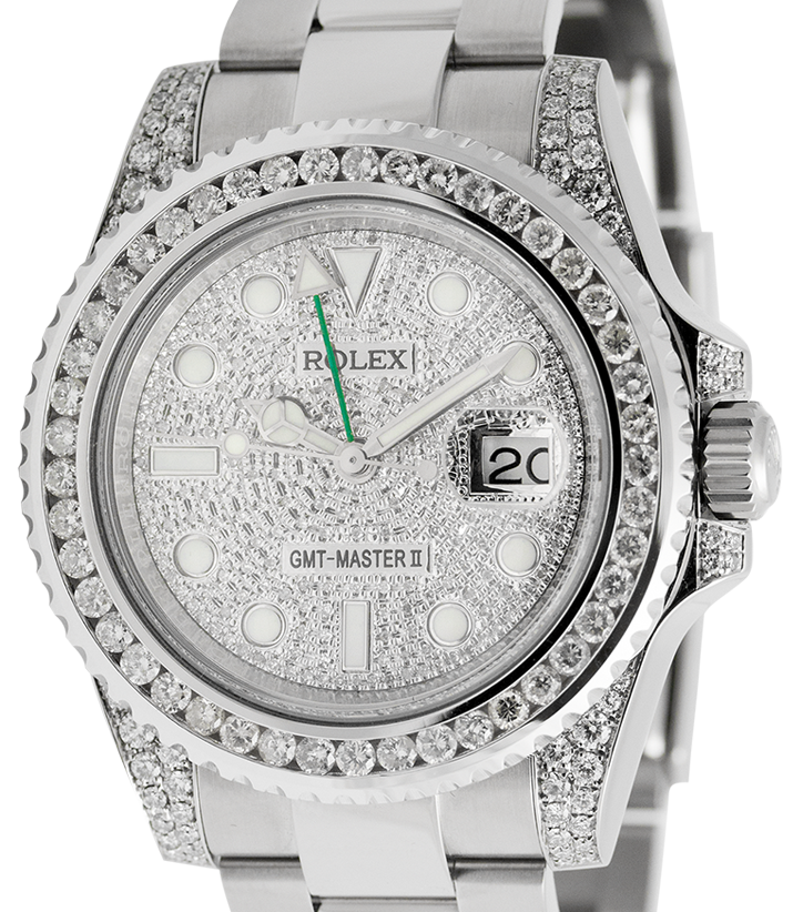 Rolex GMT-Master II Stainless Steel Diamond Bezel Pavé Dial 116710LN