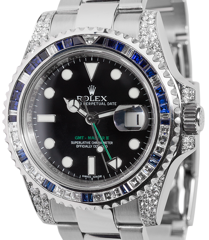 Rolex GMT-Master II Steel Blue/White Diamond Bezel 116710LN