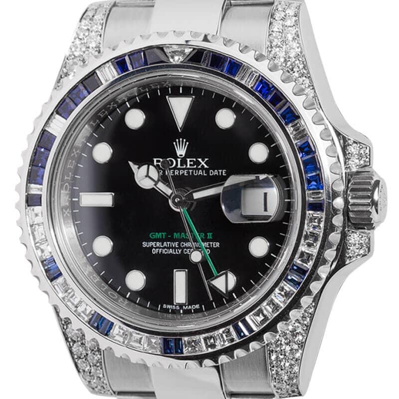Rolex GMT-Master II Steel Blue/White Diamond Bezel 116710LN