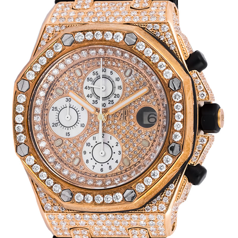 Audemars Piguet Royal Oak Offshore Rose Gold Watch with Custom Diamond Setting 26470OR.OO.A002CR.01