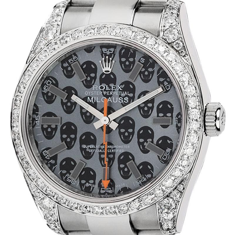 Rolex Milgauss Skulls Dial Diamond Set 116400