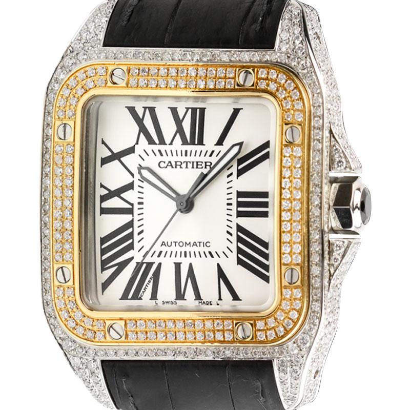 Cartier Santos 100 L Gold Bezel Diamond Set W20091X7