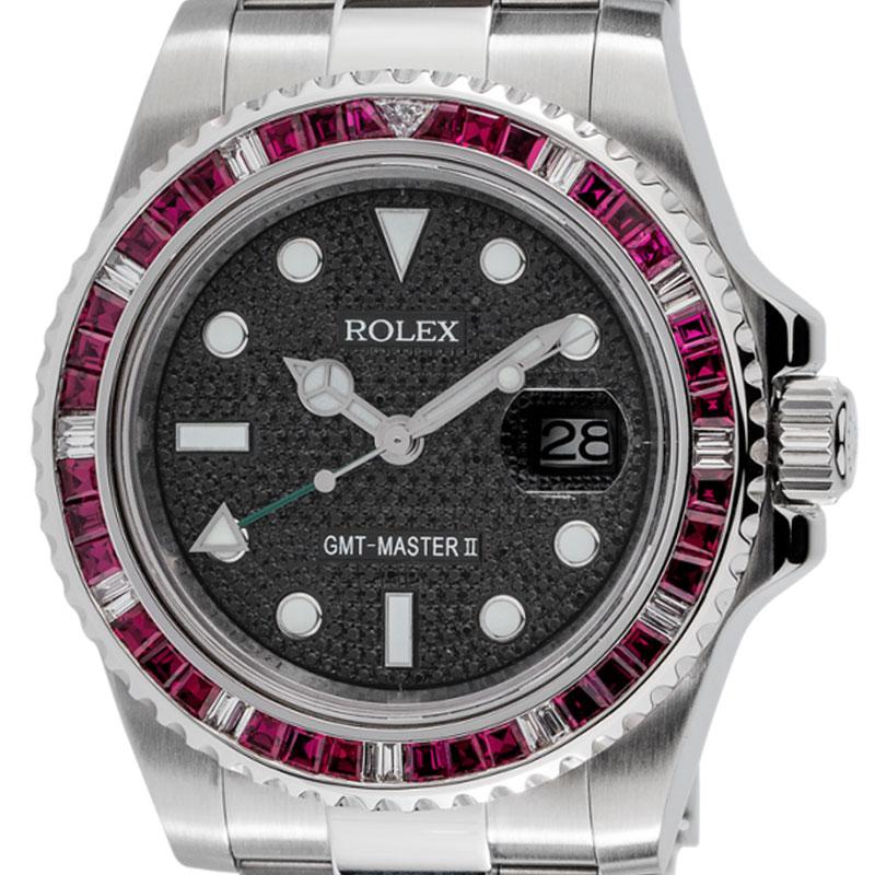 Rolex GMT-Master II Steel Red Ruby Precious Stones Bezel Black Pavé Dial Custom 116710LN
