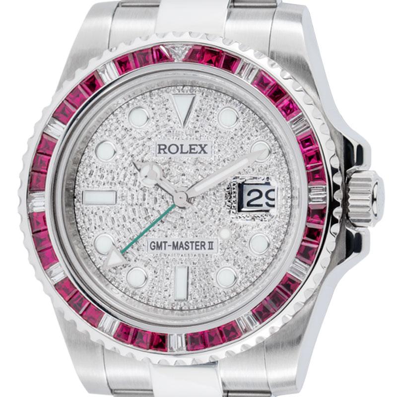 Rolex GMT-Master II Stainless Steel Red Ruby Bezel Diamond Pavé Dial 116710LN