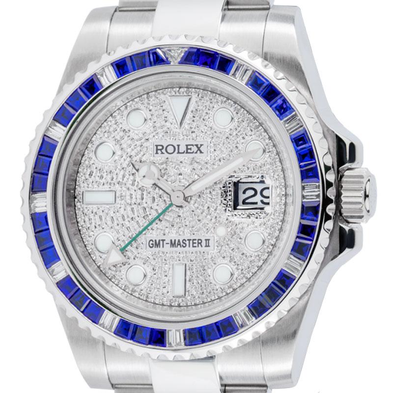 Rolex GMT-Master II Steel Sapphire Bezel Pavé Dial 116710LN
