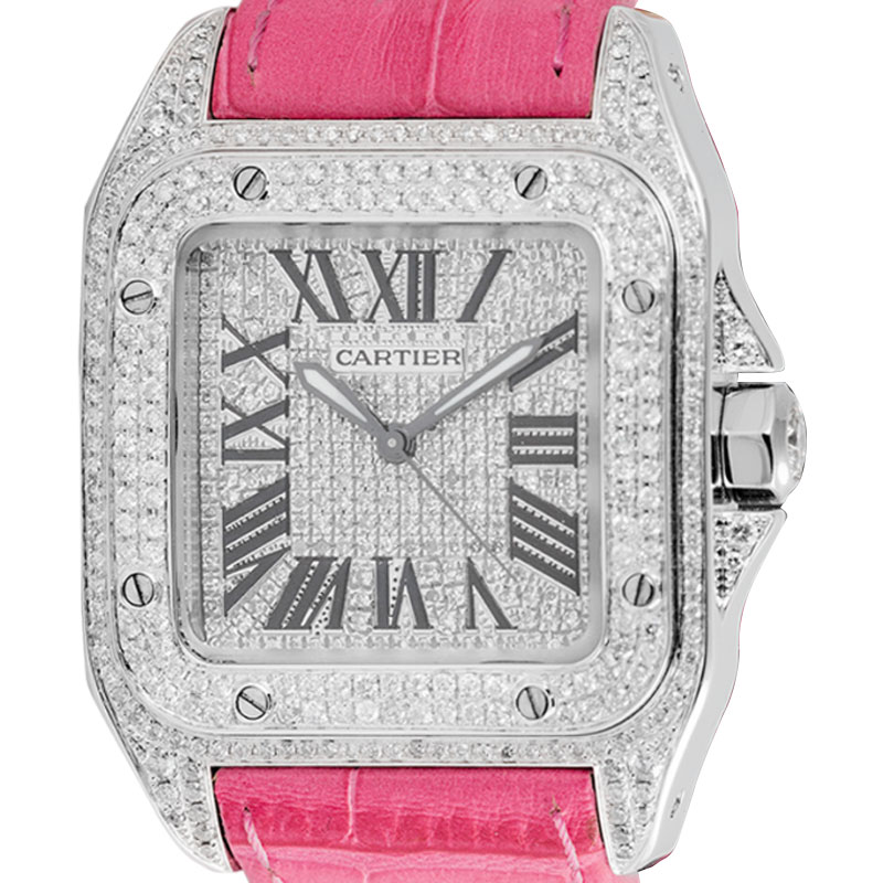 Cartier Santos 100 Midi Diamond Set Pink Strap W20106X8
