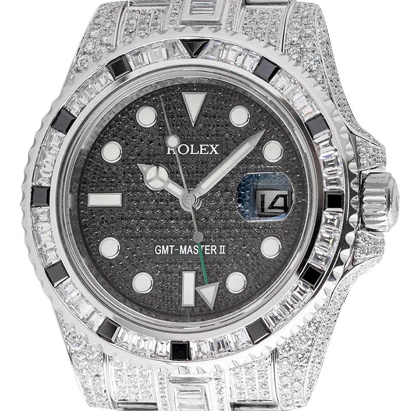 Rolex GMT-Master II Steel Full Custom Diamond Set Watch 116710LN