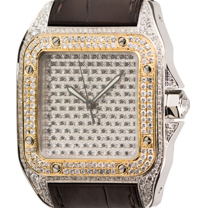 Cartier Santos 100 Large Diamond Set Watch with Gold Bezel and Leather Strap W20091X7