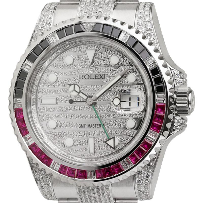 Rolex GMT-Master II Steel Custom Diamond Set Watch with Black/Red Bezel 116710LN