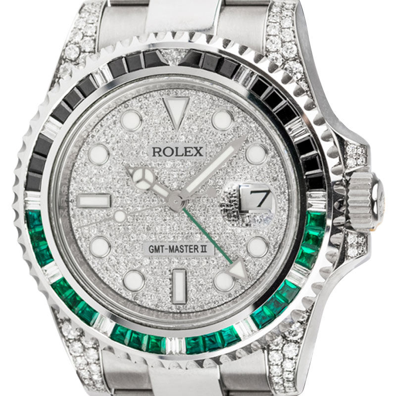Rolex GMT-Master II Steel Black/Green Custom Bezel Pavé Dial