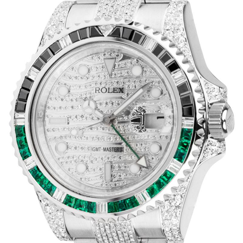 Rolex GMT-Master II Steel Custom Diamond Set Watch with Black/Green Bezel 116710LN