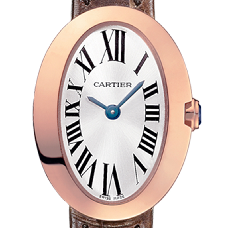 Baignoire 25.30 mm x 20.63 mm 18ct Pink Gold Silvered dial with sunray effect Roman numerals W8000017 Watch