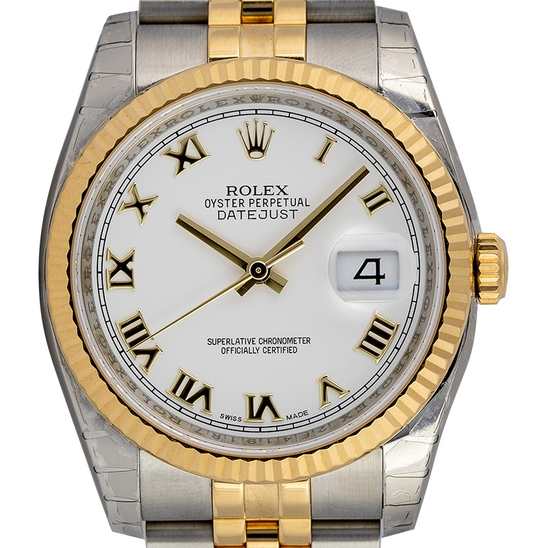 Rolex Datejust 36 Yellow Gold/Steel White Roman Dial & Fluted Bezel Jubilee Bracelet 116233