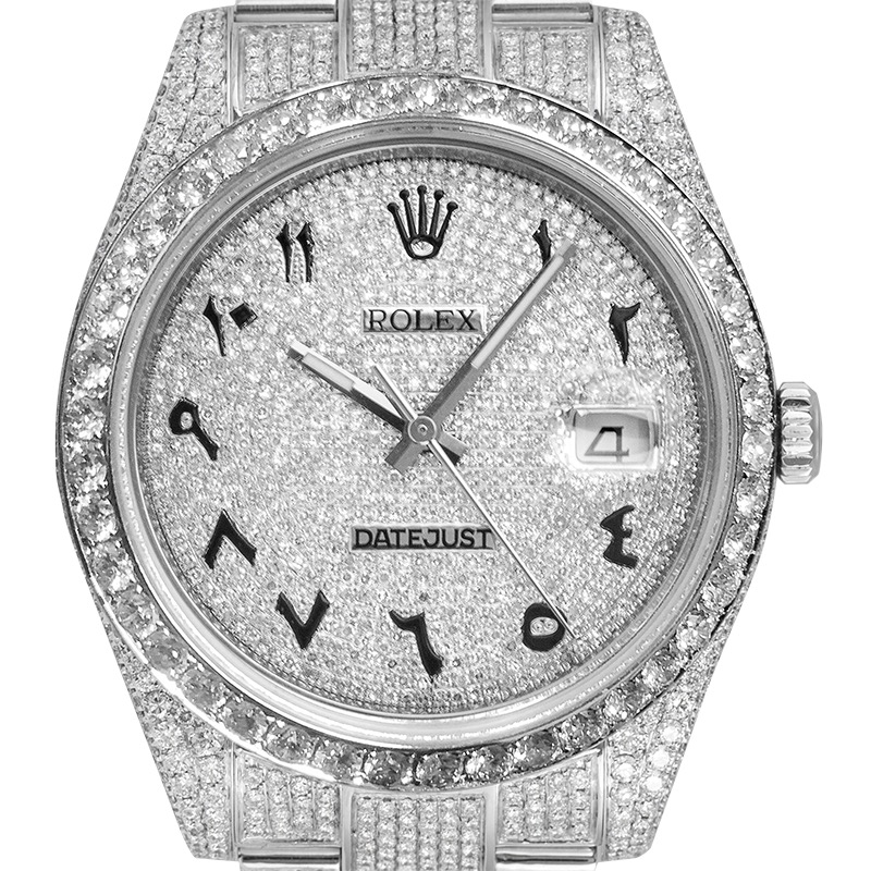 Custom Diamond Set Rolex Datejust 41 116300 Diamond Paved Dial