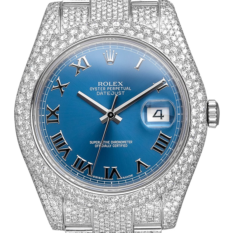 Rolex Datejust 41 Custom Diamond Set with Blue/Roman Dial 116300