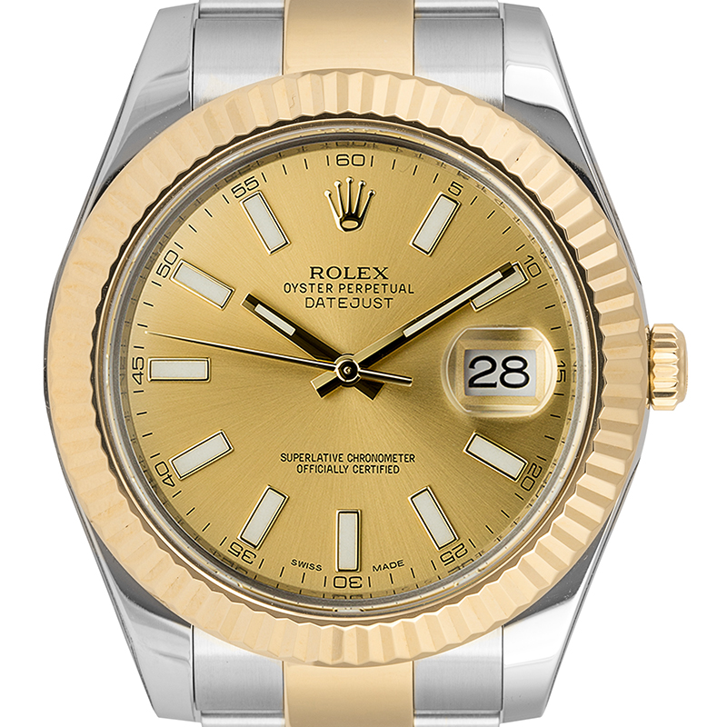 Pre-Owned Rolex Datejust Steel and Yellow Gold Champagne Dial 116333 Watch