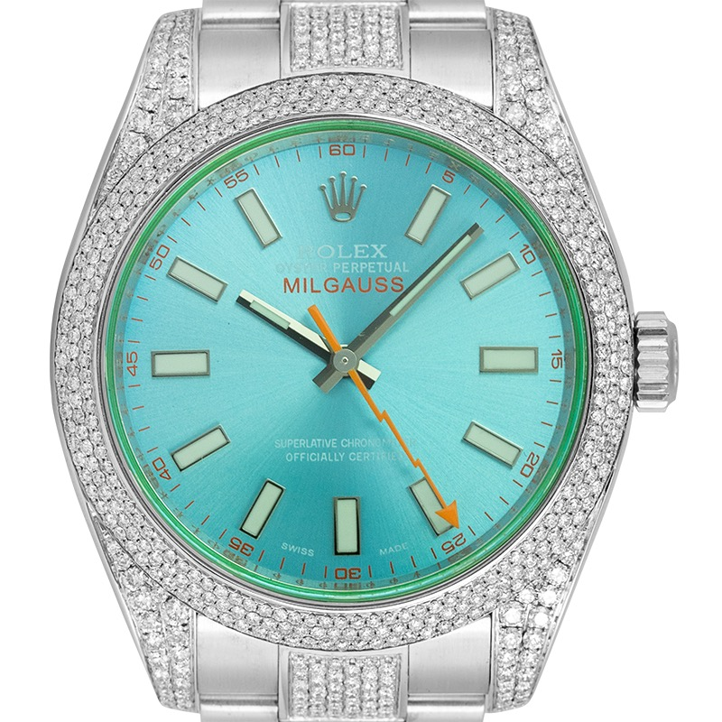 Custom Diamond Set Rolex Milgauss 116400 with Custom Blue Dial