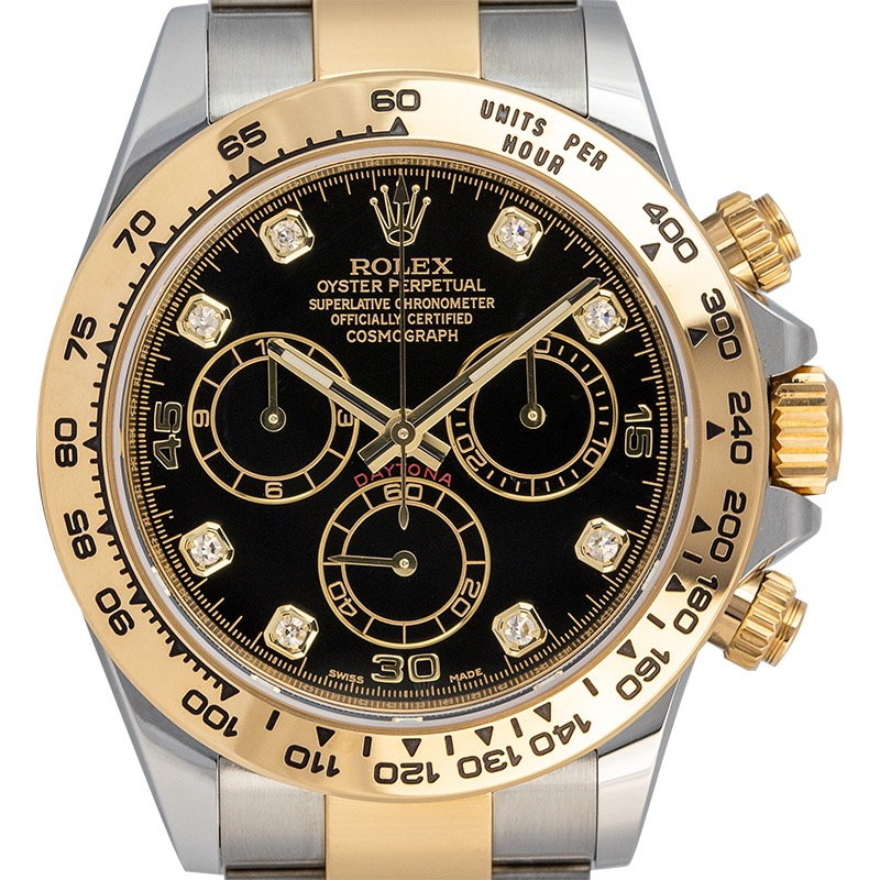 Pre-Owned Rolex Daytona Steel and Yellow Gold Black/Diamonds Dial 116503 Watch
