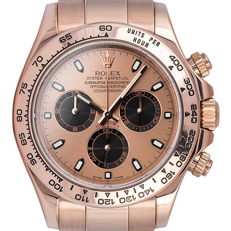 Rolex Daytona 18ct Everose Gold Watch Pink-Black/Index 116505 Watch