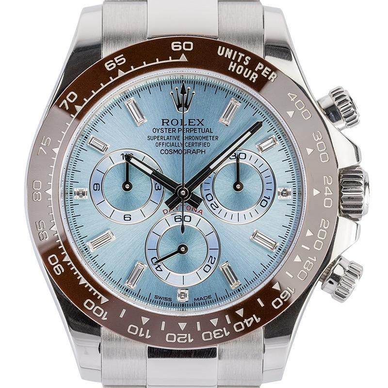 Rolex Daytona 40 mm Platinum Ice Blue/Diamond Dial 116506 Watch