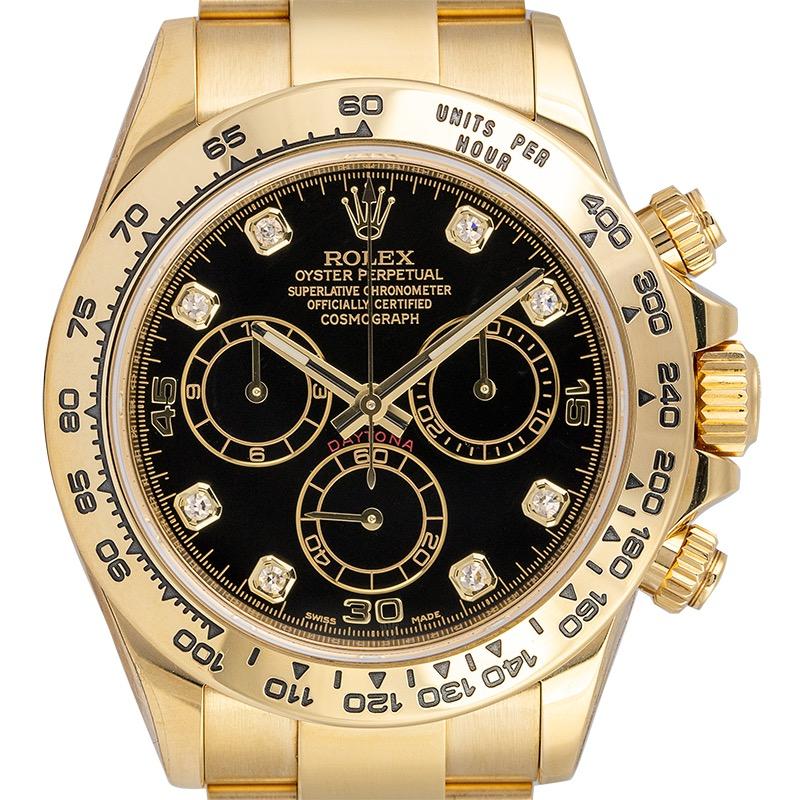 Rolex Daytona 18ct Yellow Gold Black/Diamonds Dial Watch 116508