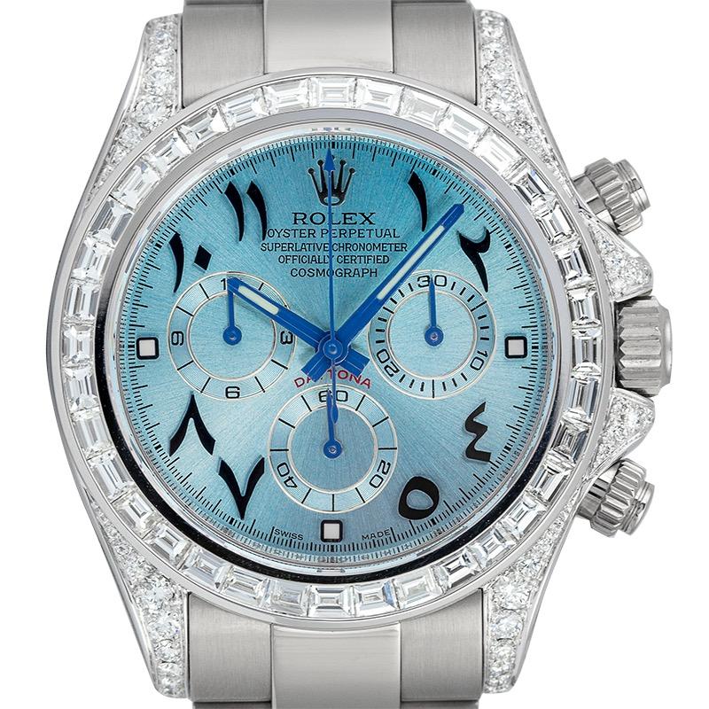 Custom Diamond Set Rolex Daytona 116509 White Gold Custom Blue Dial