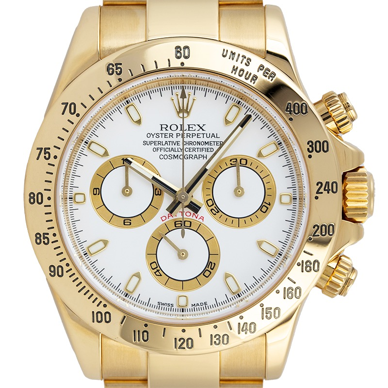 Pre-Owned Rolex Daytona 18ct Yellow Gold White Dial 116528 Watch