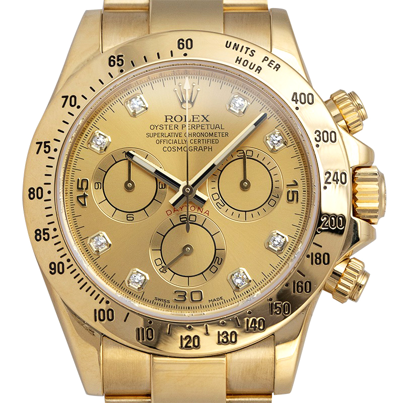 Rolex Daytona Yellow Gold Champagne/Diamond Dial 116528 Watch