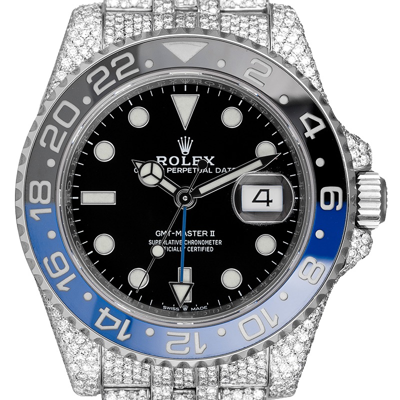Custom Diamond Set Rolex GMT-Master II 116710BLNR Jubliee