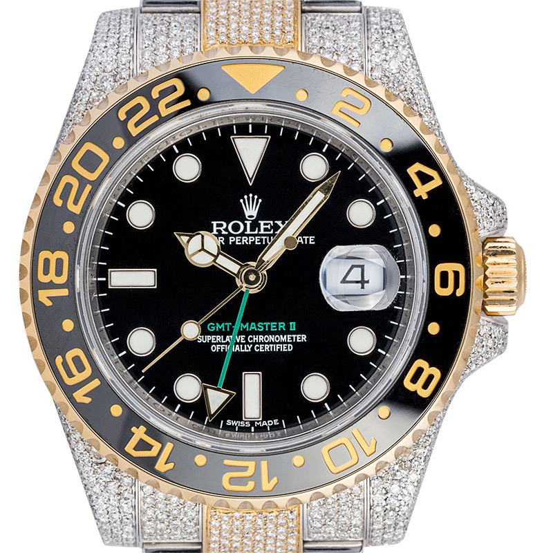 Rolex GMT-Master II Steel/Gold Custom Diamond Set 116713LN