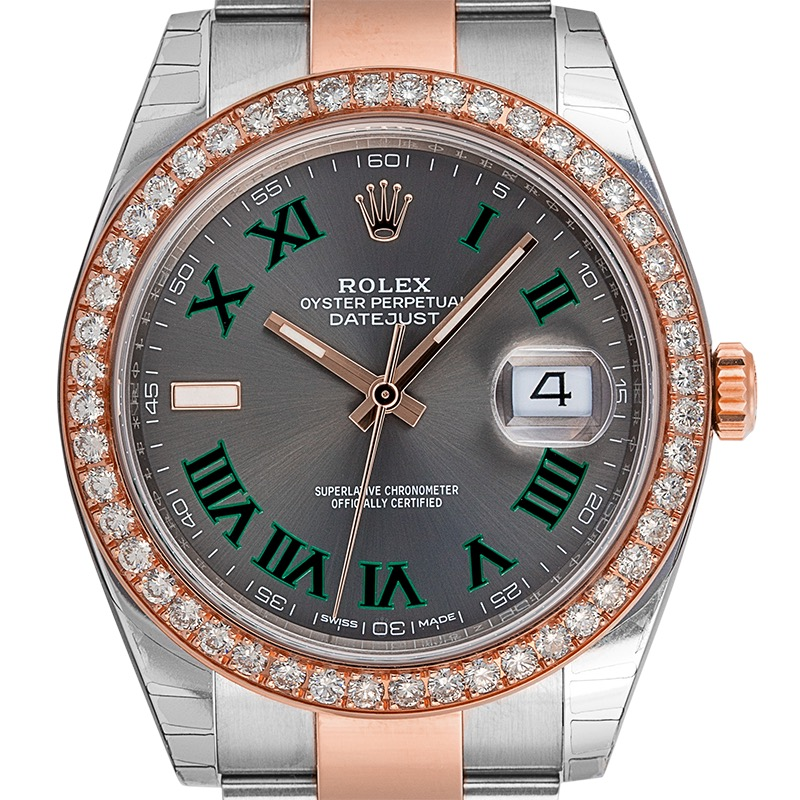 Rolex DateJust 41 Steel and Rose Gold Slate Dial Custom Bezel 126301