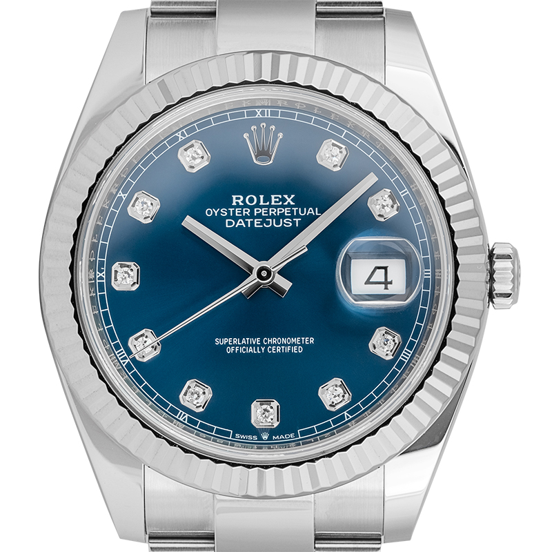 Rolex Datejust 41 Stainless Steel Blue/Diamonds Dial 126334