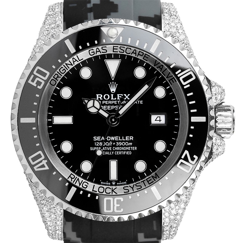 Custom Diamond Set Rolex Sea-Dweller 126660 Rubber Strap