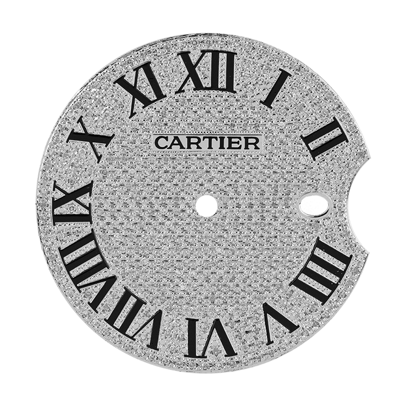 Cartier Ballon Bleu 42mm Diamond Pavé/Roman Numeral Custom Dial