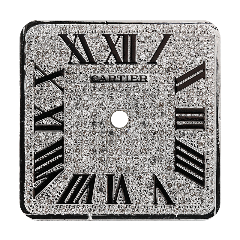 Cartier Santos 100 Large Diamond Pavé/Black Roman Numerals Custom Dial