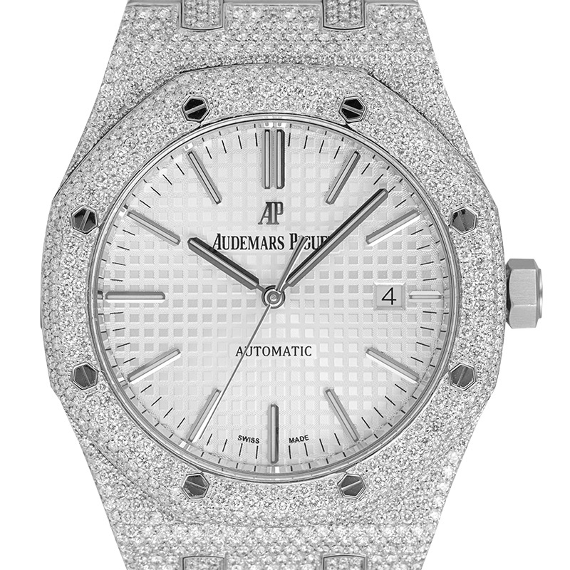 Custom Diamond Set Audemars Piguet Royal Oak 41 White Dial 15400ST