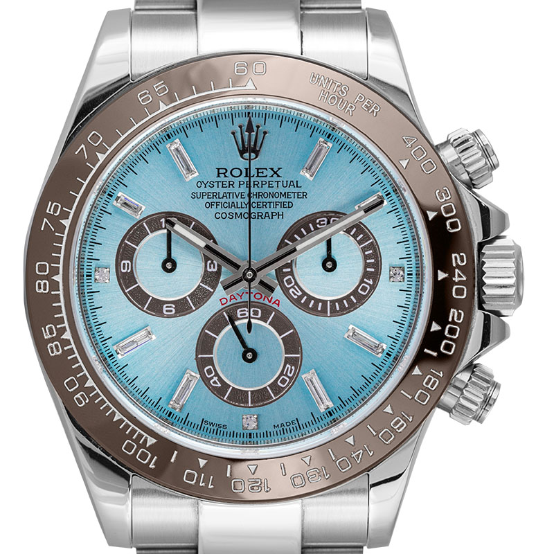 Rolex Daytona in Steel with Custom Ice Blue/Diamonds Dial and Custom Bezel 116520