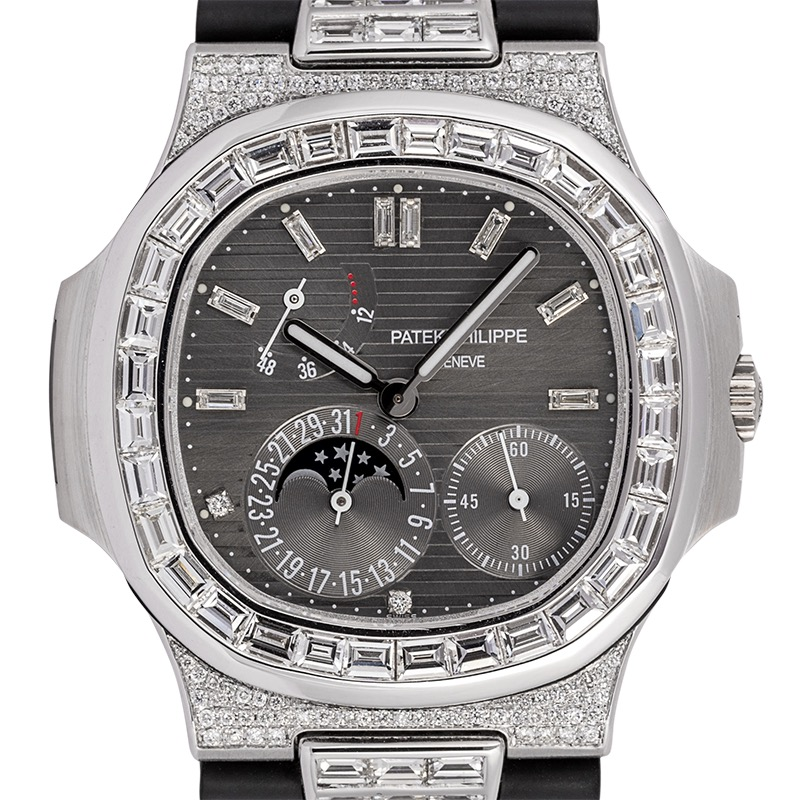 Diamond Set Patek Philippe Nautilus 5712G with Custom Baguette Kit