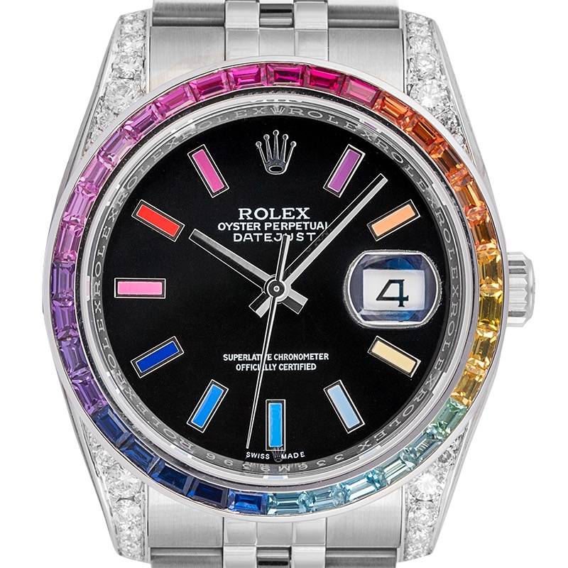 Rolex Datejust 36 Custom Diamond Set with Rainbow Bezel and Dial