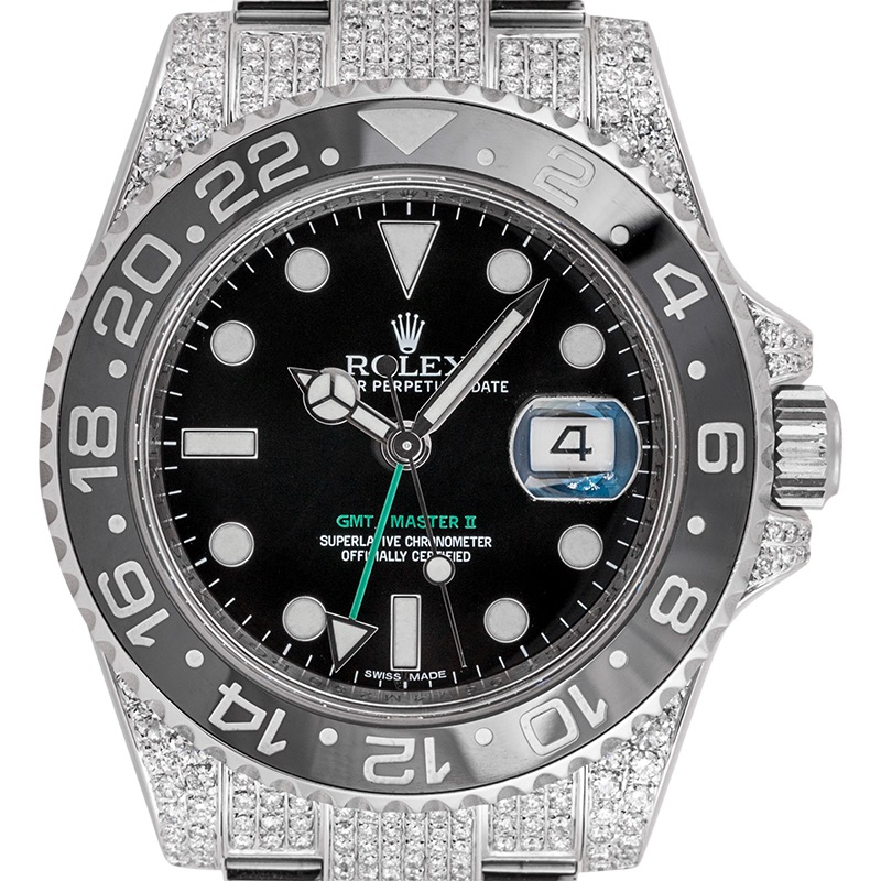 Custom Diamond Set Rolex GMT-Master II Black Dial Watch 116710LN