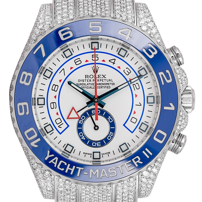 Custom Diamond Set Rolex Yacht-Master II Stainless Steel 116680 Watch