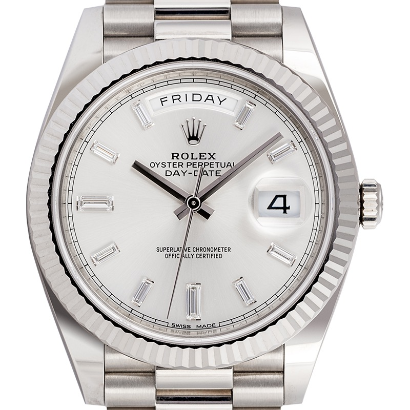 Rolex Day-Date 40 in white gold with silver/diamonds dial 228239