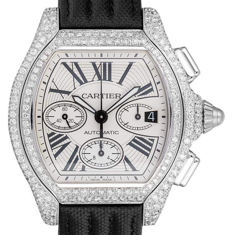 Custom Diamond Set Cartier Roadster Chronograph XL Black Strap W62019X6