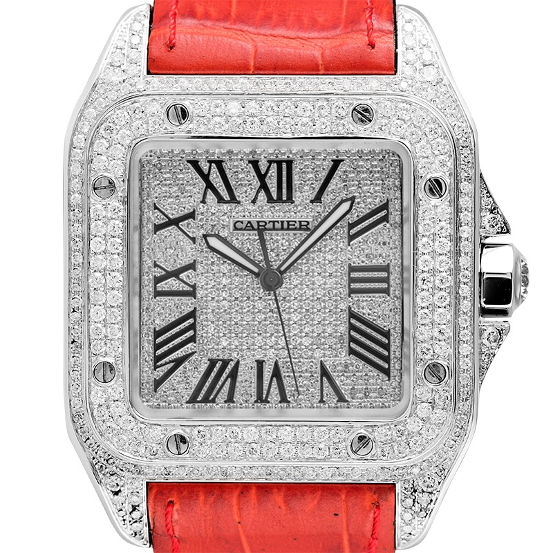 Cartier Santos 100 L Diamond Set Custom Watch Red Leather Strap W20073X8