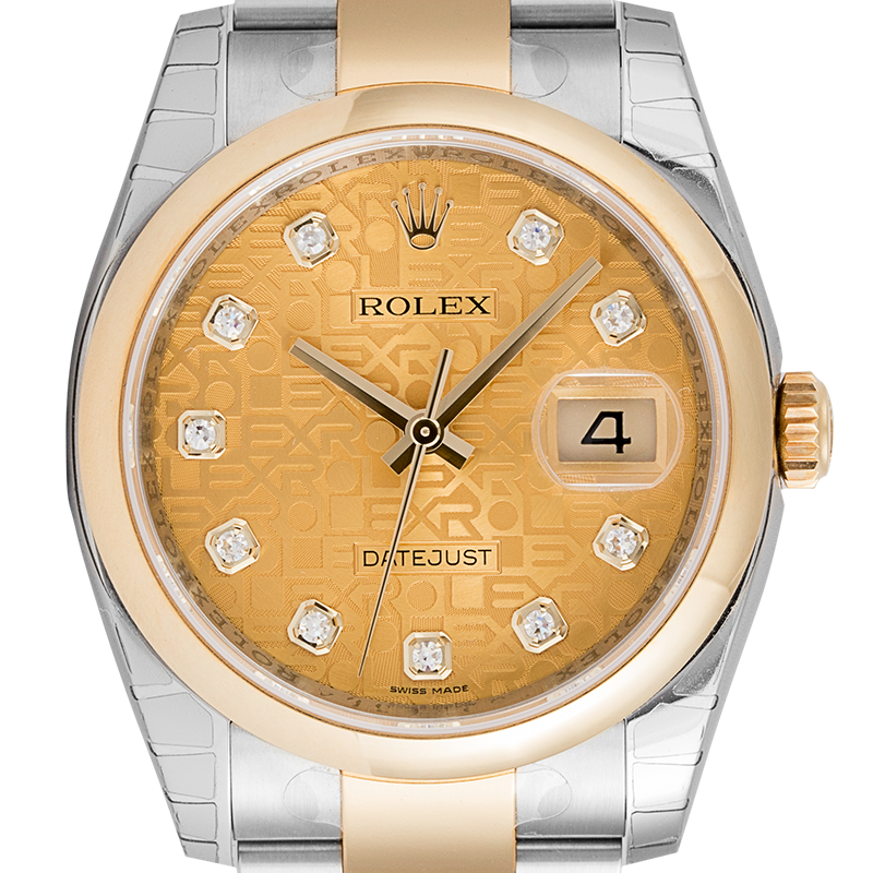 Rolex DateJust 36mm 18ct Yellow Gold/Stainless Steel with Jubilee Motif Dial 116203